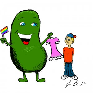 Soy bean handing a dress to a boy and holding a gay pride flag.